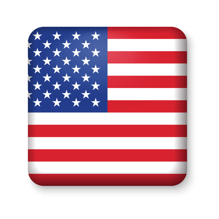 patriotic background: American United States Flag in glossy square button of icon. USA emblem isolated on white background. National concept sign. Independence Day Symbol. 4 July freedom patriotic banner with pride color Illustration