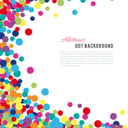 birthday backdrop: Colorful abstract dot background. illustration for bright design. Circle art round backdrop. Modern pattern decoration. Color texture holiday element wallpaper. Decor fun spot card. Happy mood.