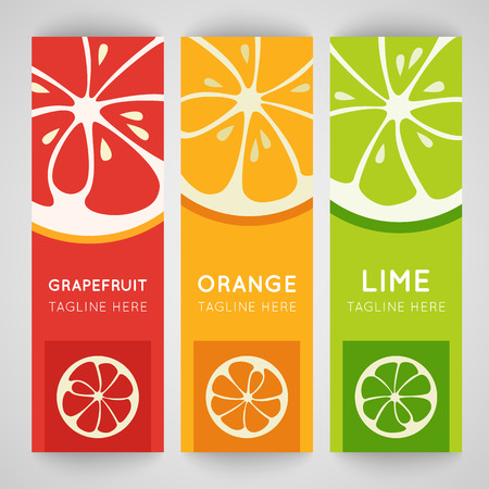 grapefruit juice: Three bright banner with stylized citrus fruit. Grapefruit, lime and orange isolated on pattern background. Fresh juice advertisement. Summer fresh drink. Healthy vitamin. Vector