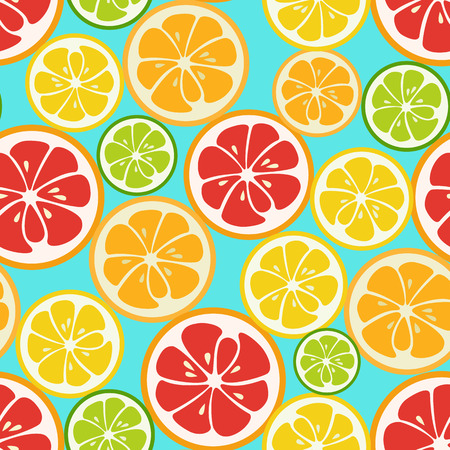 orange slice: Colorful seamless pattern with lime, orange and grapefruit. Tasty summer background. Yummy tropical fruits endless texture. Can be used for wallpapers, banners, posters. Vector illustration