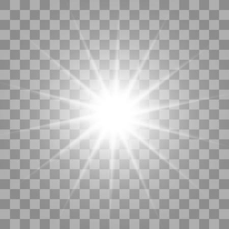 incandescent blanc explosion lumière rafale avec transparent. Vector illustration pour la décoration d'effet frais avec des étincelles de rayons. Étoile brillante. Transparent gradient paillettes éclat, fusée lumineuse. texture Glare.