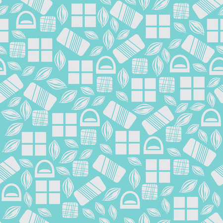 Seamless pattern with chocolate sweets isolated on blue background. Assortment of cocao items. Various tasty gourmet products. Can be used for wallpaper and wrapping paper. Mix. Vector