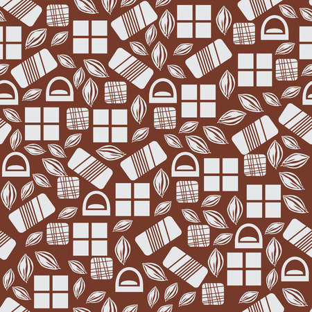 used items: Seamless pattern with chocolate sweets isolated on brown background. Assortment of cocao items. Various tasty gourmet products. Can be used for wallpaper and wrapping paper. Mix. Vector Illustration