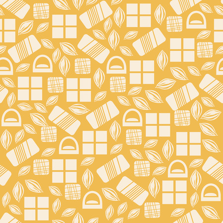 assortment: Seamless pattern with chocolate sweets isolated on yellow background. Assortment of cocao items. Various tasty gourmet products. Can be used for wallpaper and wrapping paper. Mix. Vector