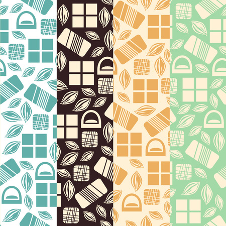 used items: Set of seamless pattern with chocolate sweets. Assortment of cocao items. Various tasty gourmet products. Can be used for wallpaper and wrapping paper. Mix. Vector