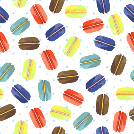 food industry: Seamless pattern with tasty macaroons. Sweet donuts isolated on polka dot background. Delicious desserts. Fresh bakery. Can be used in food industry for wallpapers, posters, wrapping paper. Vector