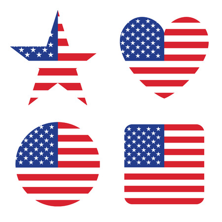 usa: American United States Flag in form button of icon. USA emblem isolated on white background. National concept sign. Independence Day Symbol. 4 July. Set of circle, star, heart, square elements