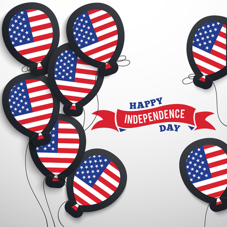 red america: American patriotic flag balloons cut out from paper. Vector illustration USA holidays. Happy independence day. National America celebration card 4th of July. Election freedom concepts. Red blue colors