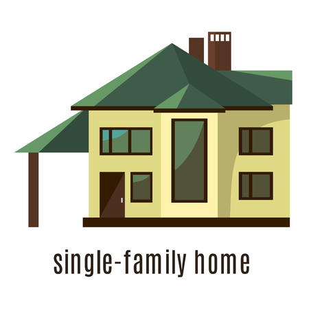 two storey: Flat house icon isolated on white background. Vector illustration for real estate design. Cute cartoon home sign. Two storey building. Architecture symbol. Residential cottage. Property village.