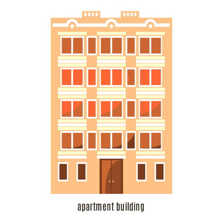 residential building: Flat house icon isolated on white background. Vector illustration for real estate design. Cute cartoon home sign. Multi-storey building. Architecture symbol. Residential household. Property town. Illustration