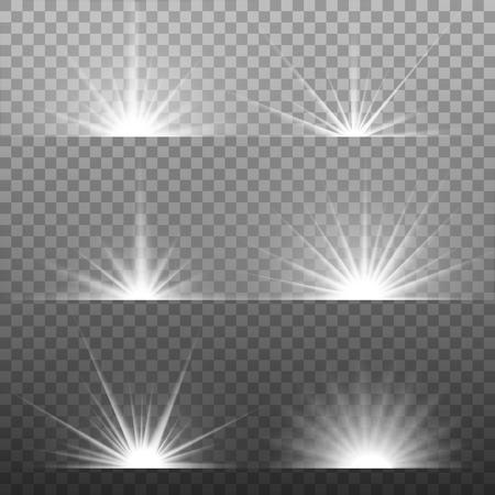 lucero: Blanco brillante explosión explosión de la luz con transparente. Ilustración del vector para la decoración efecto fresco con destellos de rayos. Lucero. Transparente brillo gradiente de brillo, llamarada brillante. Textura deslumbramiento.