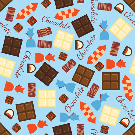 used items: Seamless pattern with black, milk and white chocolate bars and candies. Abstract background with tasty gourmet items. Can be used for wallpaper and wrapping paper. Vector design illustration. Illustration