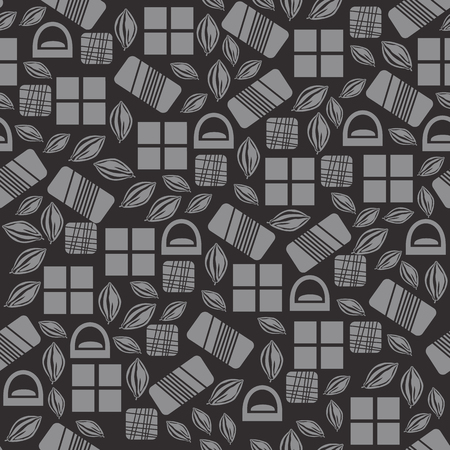 used items: Seamless pattern with chocolate sweets isolated on black background. Assortment of cocao items. Various tasty gourmet products. Can be used for wallpaper and wrapping paper. Mix. Vector