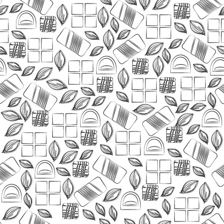 used items: Seamless pattern with chocolate sweets isolated on white background. Assortment of cocao items. Various tasty gourmet products. Can be used for wallpaper and wrapping paper. Mix. Vector Illustration