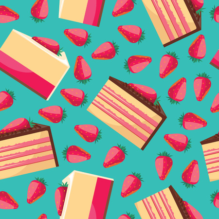 seamless patterns: Seamless background with pattern of delicious strawberry cupcake with pink whipped cream. Delicious desserts. Fresh bakery. Can be used for wallpapers, posters, wrapping paper. Vector design Illustration