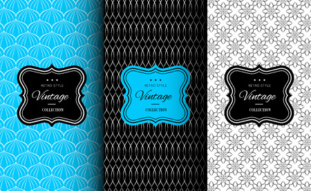 sweetshop: Elegant seamless pattern set. Vector illustration for fashion design. Packing element for label, background, wallpaper in trendy linear style. Cafe, pastry shop, sweet-shop menu template. Bright blue.