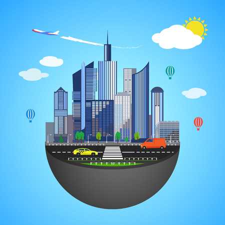 infrastructure: Urban earth concept. Vector illustration for global design. Flat cartoon style. City building planet. Skyscraper world on blue sky background. Real estate city infrastructure. Modern district scene Illustration