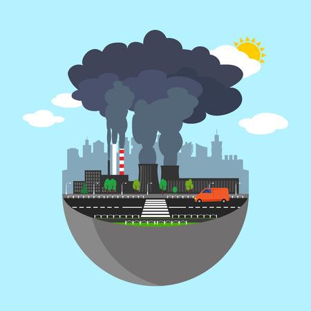 Industry aarde concept. Vector illustratie voor wereldwijde industriële. Flat cartoon. Bouw van de stad planeet. Wereld fabriek op blauwe hemel. Plant geïsoleerd. Rook, smog productie. Vervuiling productie teken. Stock Illustratie
