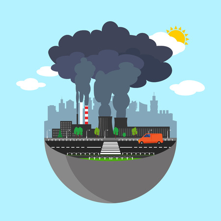 smog: Industry earth concept. Vector illustration for global industrial. Flat cartoon. City building planet. World factory on blue sky. Plant isolated. Smoke, smog production. Pollution manufacturing sign.