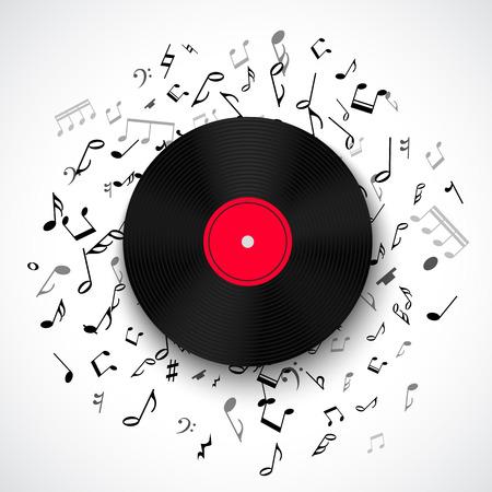Abstracte muzikale achtergrond met vinyl record album lp schijf, zwarte nota's die op witte achtergrond. Vector illustratie voor muziek flyer poster brochure. Oude langspeel disco plaat. Rock Sound concept.