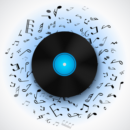 long play: Abstract musical background with vinyl record album lp disc, black notes isolated on white backdrop. Vector illustration for music flyer poster brochure. Old long play disco plate. Rock sound concept.
