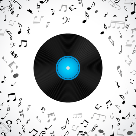 lp: Abstract musical background with vinyl record album lp disc, black notes isolated on white backdrop. Vector illustration for music flyer poster brochure. Old long play disco plate. Rock sound concept.