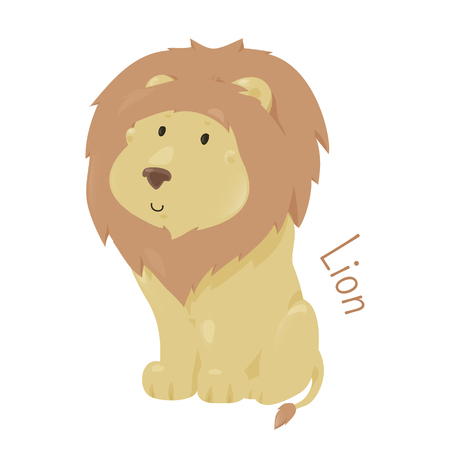 felidae: Lion isolated on white. Panthera leo. Big cats in genus Panthera and member of family Felidae. Part of series of cartoon savannah animal species. Sticker for kids. Child fun pattern icon. Vector Illustration