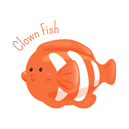 sea creature: Clown fish. Anemone subfamily Amphiprioninae in the family Pomacentridae. Part of series of cartoon sea creature species. Marine animals. Sticker for kids. Child fun pattern icon. Vector