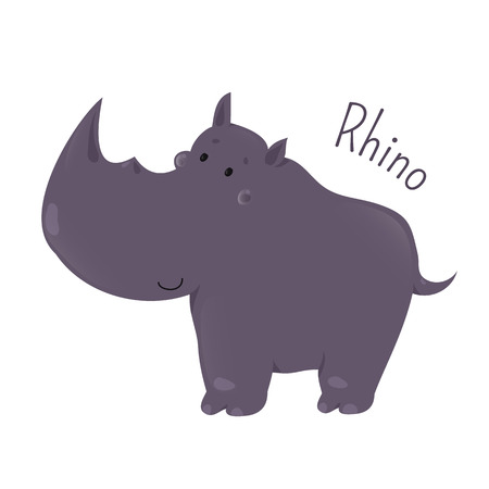 one child: Rhino isolated. Rhinoceros. One of five species of odd-toed ungulates in the family Rhinocerotidae. Part of series of cartoon savannah animal species. Sticker for kids. Child fun pattern icon. Vector