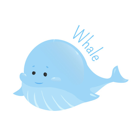 sea creature: Blue whale. Balaenoptera musculus. Marine mammal. The largest and heaviest extant animal. Part of series of cartoon sea creature species. Marine animals. Sticker for kids. Child fun icon. Vector