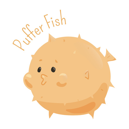sea creature: Puffer fish. Tetraodontidae is family marine and estuarine fish of Tetraodontiformes. Part of series of cartoon sea creature species. Marine animals. Sticker for kids. Child fun pattern icon. Vector