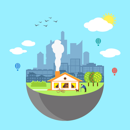real world: Urban home earth concept. Vector illustration for global design. Flat cartoon style. City building planet. Skyscraper world on blue sky background Real estate city infrastructure Modern district scene
