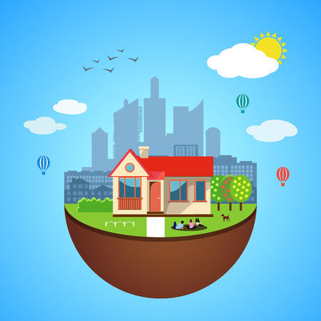skyscraper sky: Urban home earth concept. Vector illustration for global design. Flat cartoon style. City building planet. Skyscraper world on blue sky background Real estate city infrastructure Modern district scene