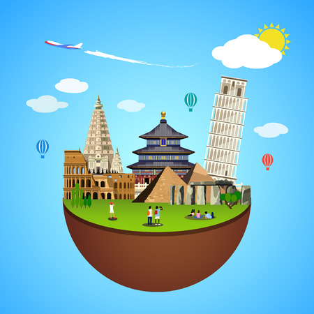heaven and earth: World landmarks concept. Vector illustration for travel design. Famous ancient symbol icon. Tourism city place culture architecture. Italy, Chine, USA, Egypt, Mexico, Asia. Cartoon trip tour monument.