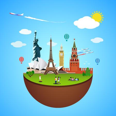 globe theatre: World landmarks concept. Vector illustration for travel design. Famous country symbol icon. Tourism city place culture architecture. USA, Russia, London, Paris, Australia. Cartoon trip tour monument. Illustration