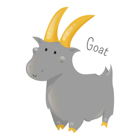 capra: Goat isolated on white. Capra aegagrus hircus. Member of the family Bovidae. Sheep. Antelop. Part of series of cartoon home animal species. Domestic pets. Sticker for kids. Child fun icon. Vector Illustration