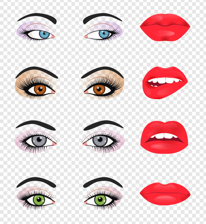 plump lips: Set of glamour lips with pink lipstick color. Vector illustration for fashion design. Beautiful shiny femile mouth collection isolated on white background. Women smile, teeth. Sexy icon sign symbol