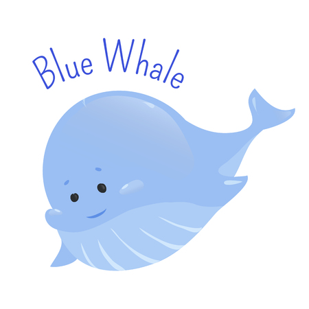 animal species: Blue whale isolated on white background. Balaenoptera musculus. Marine mammal. The largest and heaviest extant animal. Part of series of cartoon northern animal species. Child fun pattern icon. Vector