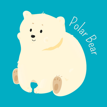 animal species: Polar bear isolated on white background. Ursus maritimus. Marine mammal. Maritime. Vulnerable specie. Part of series of cartoon northern animal species. Child fun pattern icon. Vector