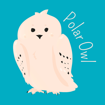 animal species: Polar owl isolated. Bird Strigiformes. Large, broad head, binocular vision, binaural hearing, sharp talons, silent flight. Part of series of cartoon northern animal species. Child fun icon. Vector