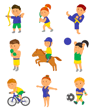 game boy: Cartoon sport kids. Vector illustration for 2016 brazil game. Boy, girl isolated on white background. Set of cute bright school child clip art. Football, soccer, gymnastics boxing horse tennis