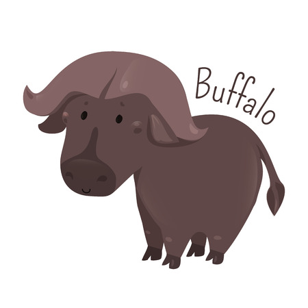 African buffalo isolated. Cape. Syncerus caffer. Large bovine from Africa. Horns have fused bases. Sticker for kids. Part of series of cartoon savannah animal species. Child fun pattern icon. Vector Illustration