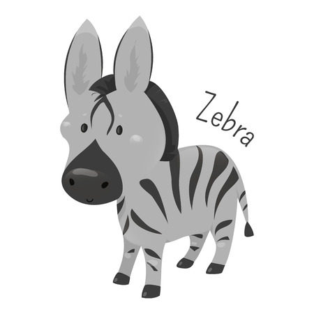 equid: Zebra isolated. African equids horse family united by distinctive black and white striped coats. Part of series of cartoon savannah animal species. Sticker for kids. Child fun pattern icon. Vector