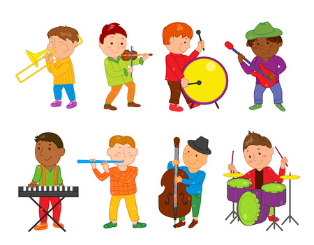 school boys: Cartoon musician kids. Vector illustration for children music. Boys band isolated on white background. Set of cute school musical student clip art. Drum, guitar, piano violin trumpet flute instrument