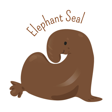 Elephant Seal isolated on white. Large, oceangoing earless in genus Mirounga. Northern and southern species. Part of series of cartoon northern animal species. Child fun pattern icon. Vector Illustration