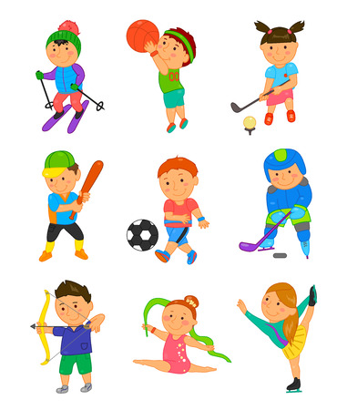 child boy: Cartoon sport kids. Vector illustration for children game design. Boy, girl isolated on white background. Set of cute bright school child clip art. Football soccer gymnastics hockey basketball golf
