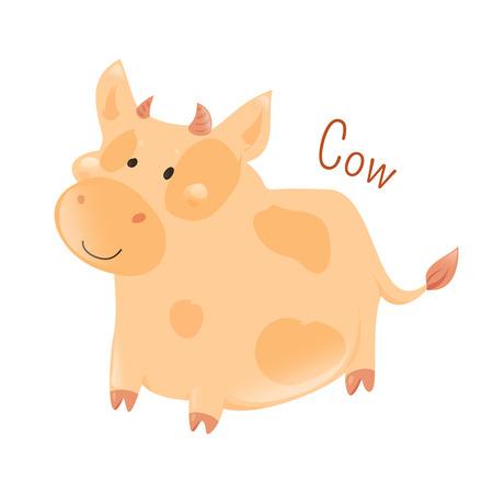 牛は、白い背景で隔離。牛イスト大家畜有蹄類の彼の最も一般的なタイプ。漫画家の動物種のシリーズの一部。国内のペット。子供のためのステッ