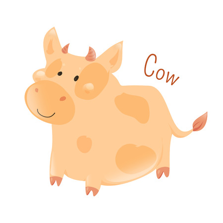 Cow isolated on white background. Cattle ist he most common type of large domesticated ungulates. Part of series of cartoon home animal species. Domestic pets. Sticker for kids. Child fun icon. Vector