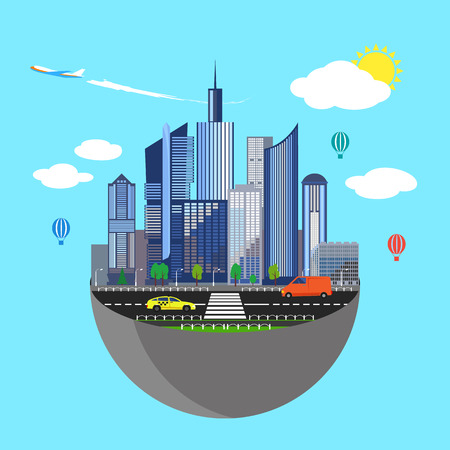 real world: Urban earth concept. Vector illustration for global design. Flat cartoon style. City building planet. Skyscraper world on blue sky background. Real estate city infrastructure. Modern district scene Illustration