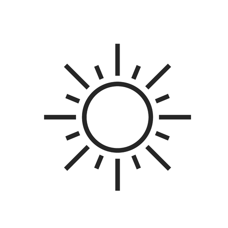 Sun. Sunny day. Weather forecast icon. Editable element isolated on white. Creative item. Flat design graphic. Part of series various symbols and signs for climate changes diagnostic. Vector